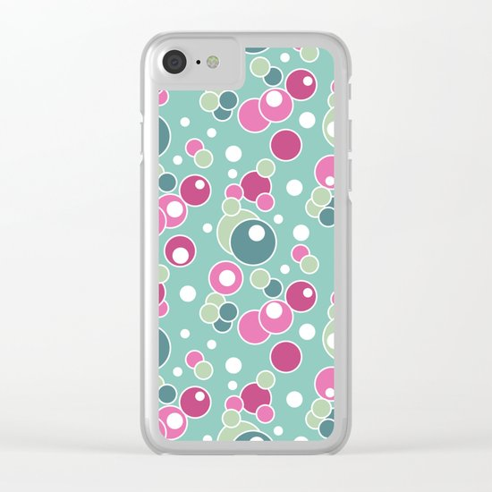 Retro. Multi-colored polka dots . Clear iPhone Case