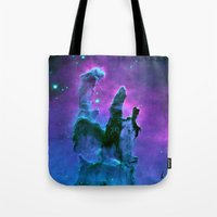 nebula Tote Bags featuring Nebula Purple Blue Pink by 2sweet4words Designs