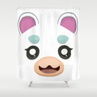 animal crossing Shower Curtains featuring Animal Crossing Flurry by ZiggyPasta