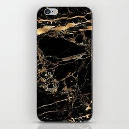 Marble, Black + Gold Veins iPhone Skin