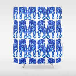 Chinese Guardian Lion Twins in Blue Porcelain Shower Curtain