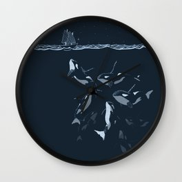 Pod of Killer Whale (Orca) and small boat in midnight ocean scene Wall Clock