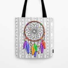 Dreamcatcher Rainbow Feathers Tote Bag