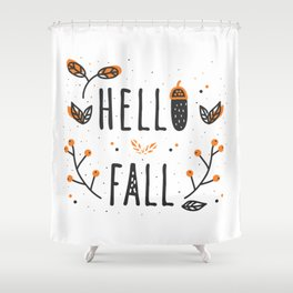 Hello Fall Cute Typography & Leafs Shower Curtain