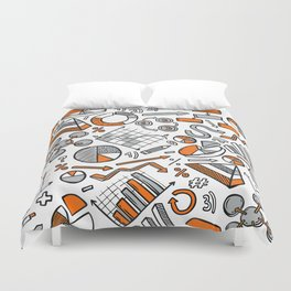 Charts Sketch Seamless Pattern Duvet Cover
