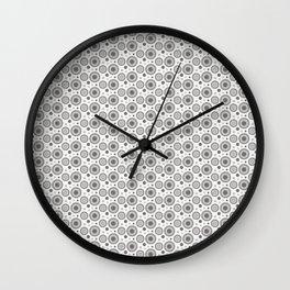 Pantone Pewter Polka Dots and Circles Pattern on White Wall Clock