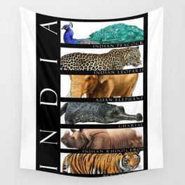 Animals of India Wall Tapestry