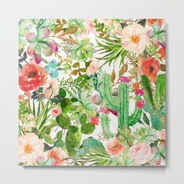 Cactus Floral Collage Metal Print