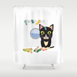 Cat with washing machine   Shower Curtain
