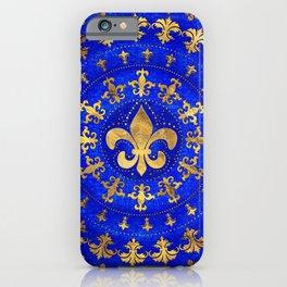 Fleur-de-lis ornament Lapis Lazuli and Gold iPhone Case