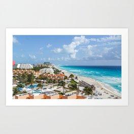 Cancun city on beachside Art Print