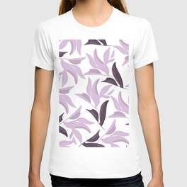 Abstract modern pastel lavender white leaves floral T-shirt