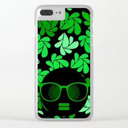 Afro Diva : Green & Black Clear iPhone Case