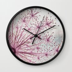 Vintage Raspberry Pink and Paris Gray Botanical Queen Anne's Lace Wildflower Wall Clock