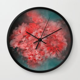 Abstract Red Flowers Wall Clock