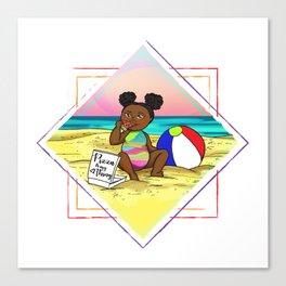 Pizza love at the beach Canvas Print