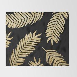 Gold Glitter Palms  |  Black Background Throw Blanket