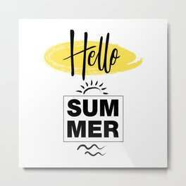 Hello Summer Typography Metal Print