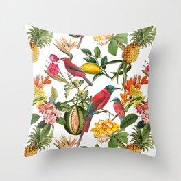 Vintage & Shabby Chic - Spring Tropical Birds Fruit Botanical Garden     Throw Pillow