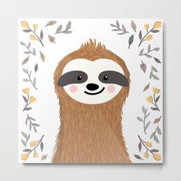 Cute baby sloth among flowers and leaves Metal Print