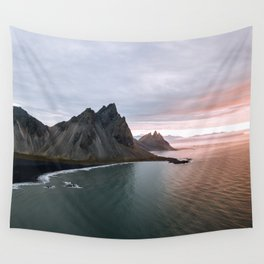 Iceland Mountain Beach Sunrise - Landscape Photography Wall Tapestry