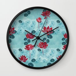 Pure zen waterlily pattern Wall Clock