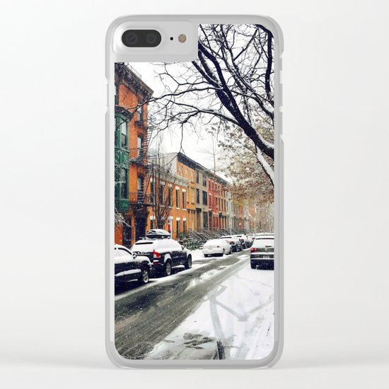 Brooklyn New York City Snow Showers Clear iPhone Case