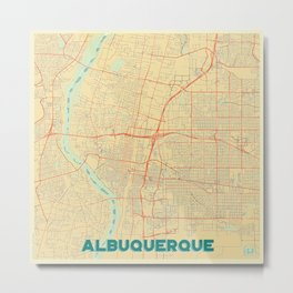 Albuquerque Map Retro Metal Print
