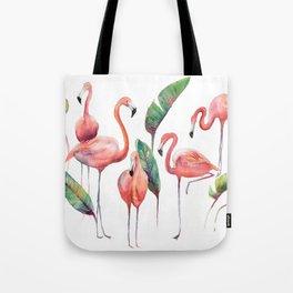 Pink Flamingos with some Strelizia Foliage Tote Bag