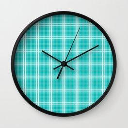 Aqua Blue Tartan Scottish Clan McTiffany Wall Clock