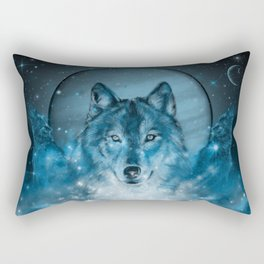 wolf in blue Rectangular Pillow