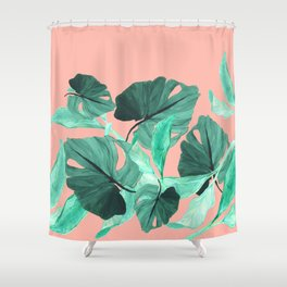 Jungle Foliage (Peach) Shower Curtain