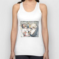 hockey Tank Tops featuring Hockey fight by Chris Gauvain