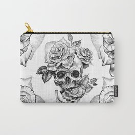 Black and White skull with roses pen drawing Carry-All Pouch