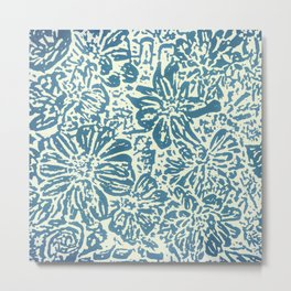 Marigold Lino Cut, Denim Blue Metal Print