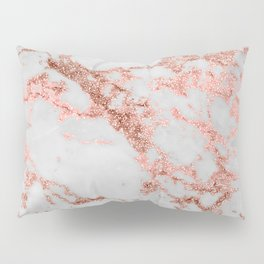 Stylish white marble rose gold glitter texture image Pillow Sham