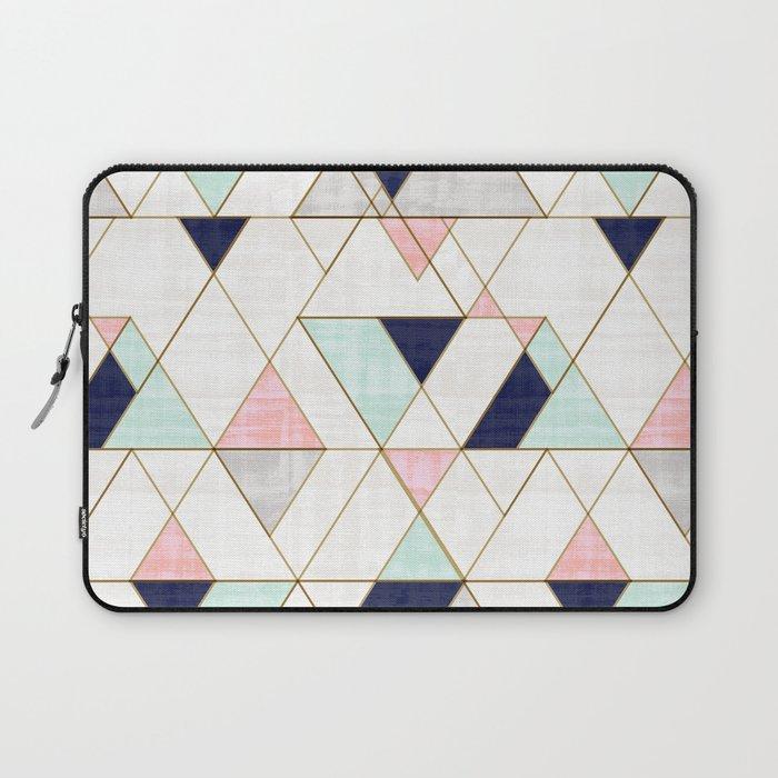 Mod Triangles - Navy Blush Mint Laptop Sleeve