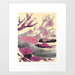 Pink Cherry Blossoms (2 of 3) Art Print