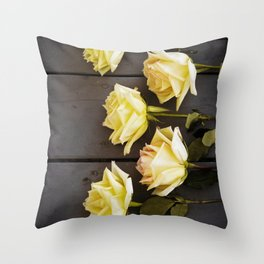 Country Yellow Roses Throw Pillow