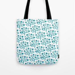 Mid Century Modern Berries Pattern turquoise Tote Bag