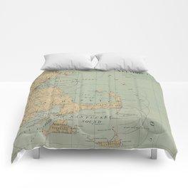 Vintage Massachusetts Lighthouse Map (1898) Comforters