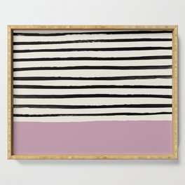 Dusty Rose & Stripes Serving Tray