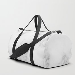 The Perfect Classic White with Grey Veins Marble Duffle Bag