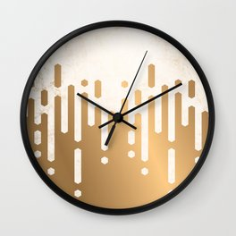 Marble and Geometric Diamond Drips, in Gold Wall Clock