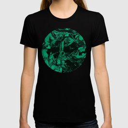 Green and black Marble texture acrylic Liquid paint art T-shirt