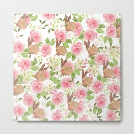 Pink brown watercolor roses floral bunny rabbit Metal Print