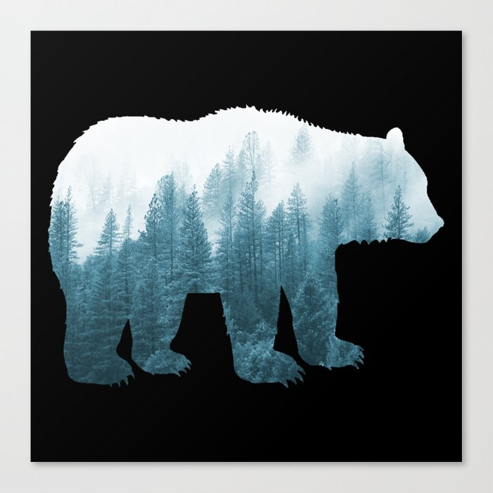 Misty Forest Bear - Turqoise Canvas Print