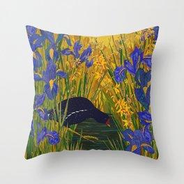 Iris and Moorhen Throw Pillow