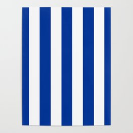 Dark powder blue - solid color - white vertical lines pattern Poster