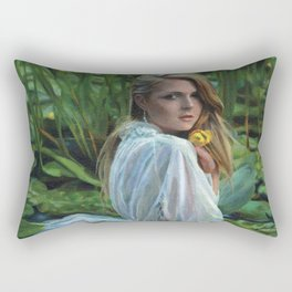 """""""Lady in the Lily Pads"""" Rectangular Pillow"""